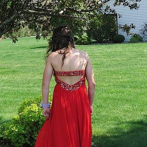 Red strapless beaded prom dress